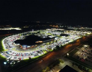 overhead shot of Karl Chevrolet dealership and parking lot at night