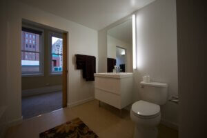 modern residential bathroom with LED lighting
