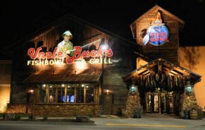 exterior of Uncle Buck's Fishbowl & Grill at night