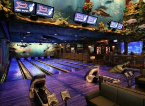 underwater-themed bowling alley
