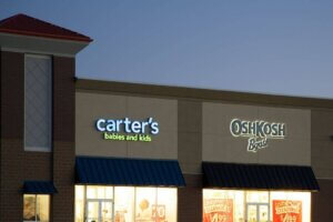 exterior photo of Carter's Babies & Kids and OshKosh lit signs