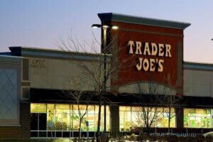 exterior photo of Trader Joe's at night