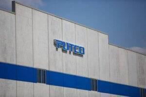 exterior photo of blue Putco building sign