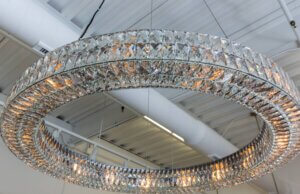 large round chandelier made of crystals