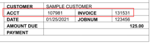 sample customer invoice with account and invoice number circled in red